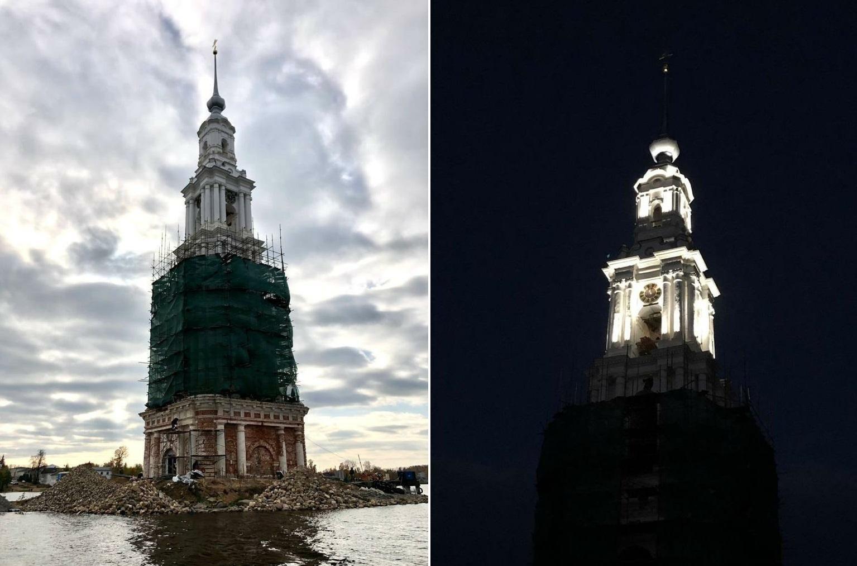 Завершается реставрация колокольни Николаевского собора в Калязине Тверской области