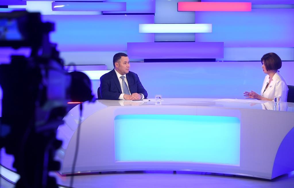 Игорь Руденя ответил на актуальные вопросы жителей Тверской области в прямом эфире телеканала «Россия 24» Тверь
