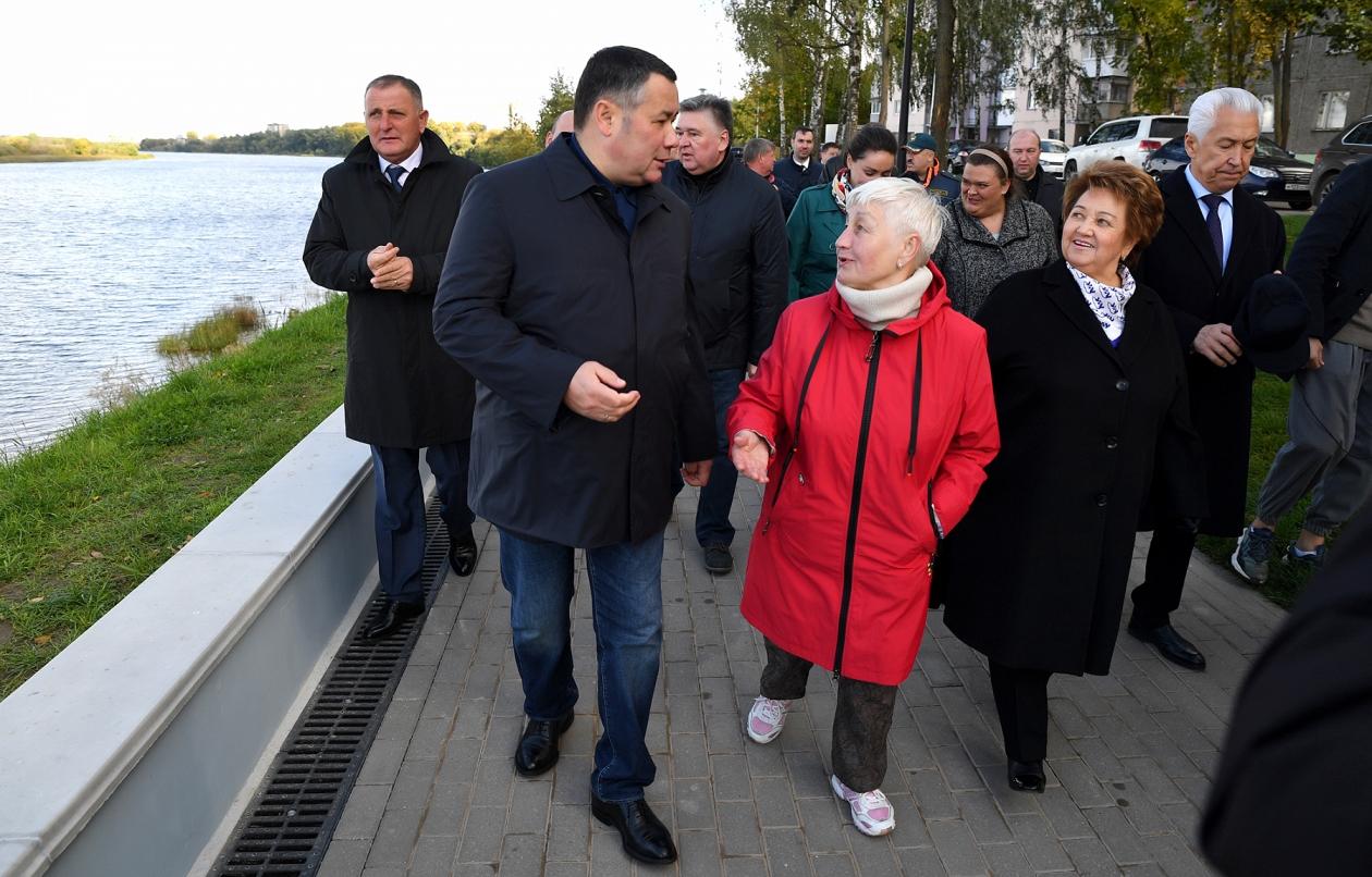 Игорь Руденя осмотрел благоустроенную Мигаловскую набережную в Твери - новости Афанасий