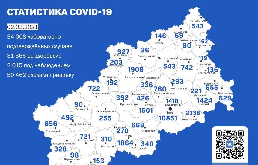Карта коронавируса в Тверской области к 2 марта - новости Афанасий