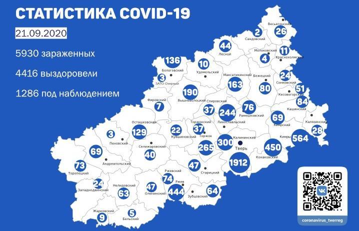 Карта коронавируса в Тверской области: новые случаи по районам к 21 сентября - новости Афанасий