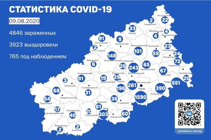 Карта коронавируса в Тверской области на 9 августа - новости Афанасий