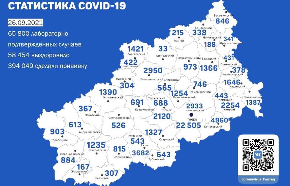 В Твери +86 зараженных. Карта коронавируса за 26 сентября - новости Афанасий