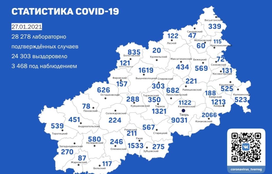 Карта коронавируса в Тверской области за 27 января - новости Афанасий