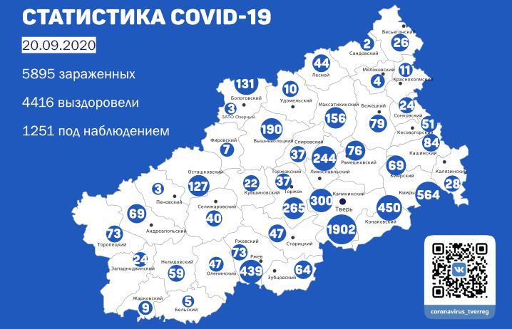 Карта коронавируса в Тверской области: где новые случаи к 20 сентября - новости Афанасий
