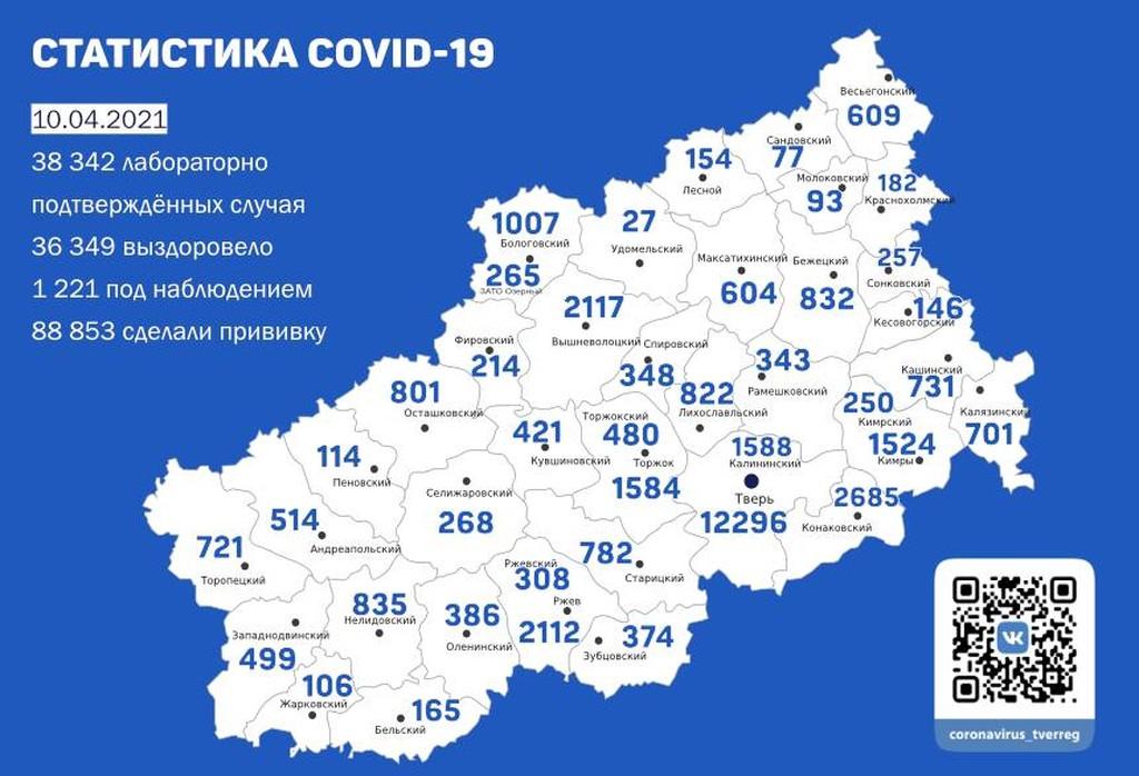 Карта коронавируса в Тверской области к 10 апреля - новости Афанасий