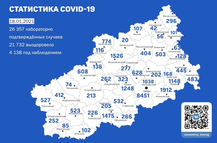 Тверь, Конаковский и Бологовский районы лидируют по числу заразившихся ковидом за сутки в Тверской области.