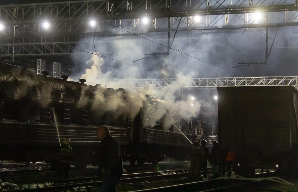 Пожар на железной дороге в Твери