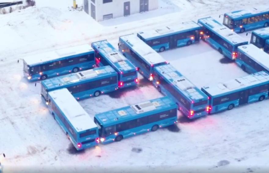 В Твери сложили новогоднее поздравление из автобусов - новости Афанасий