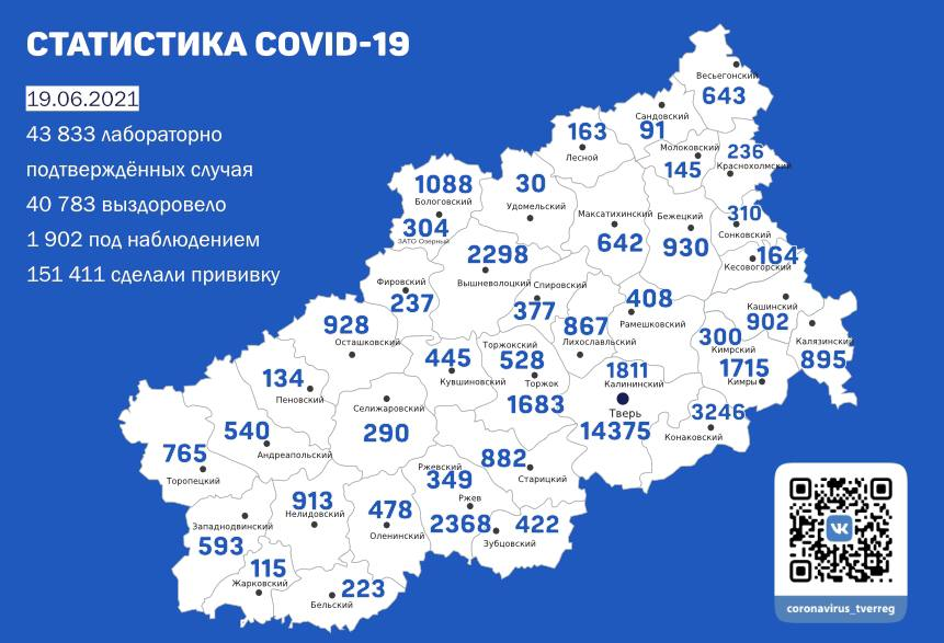 Карта коронавируса в Тверской области к 19 июня 2021