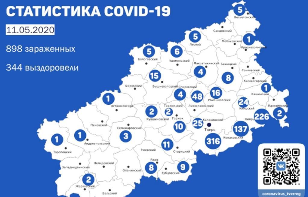 Карта коронавируса в Тверской области: новые данные на 11 мая 2020 года - новости Афанасий