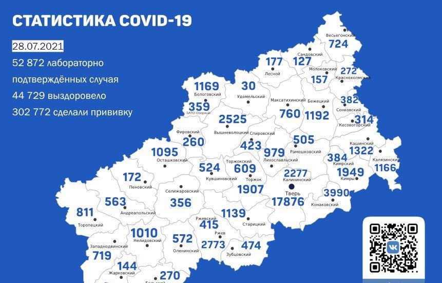 Карта коронавируса в Тверской области к 28 июля 2021 - новости Афанасий