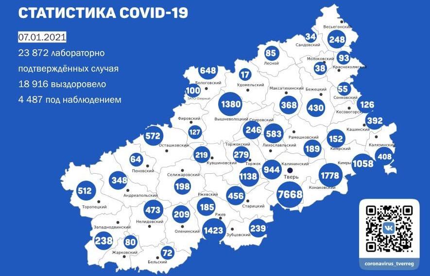 Карта коронавируса в Тверской области к 7 января - новости Афанасий