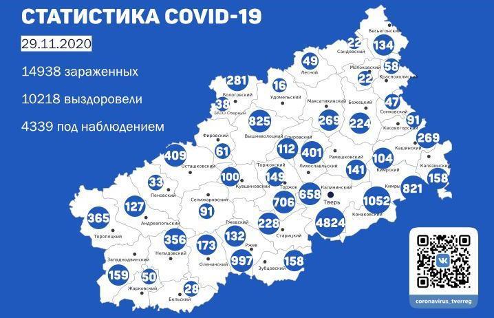 Карта коронавируса в Тверской области к 29 ноября - новости Афанасий