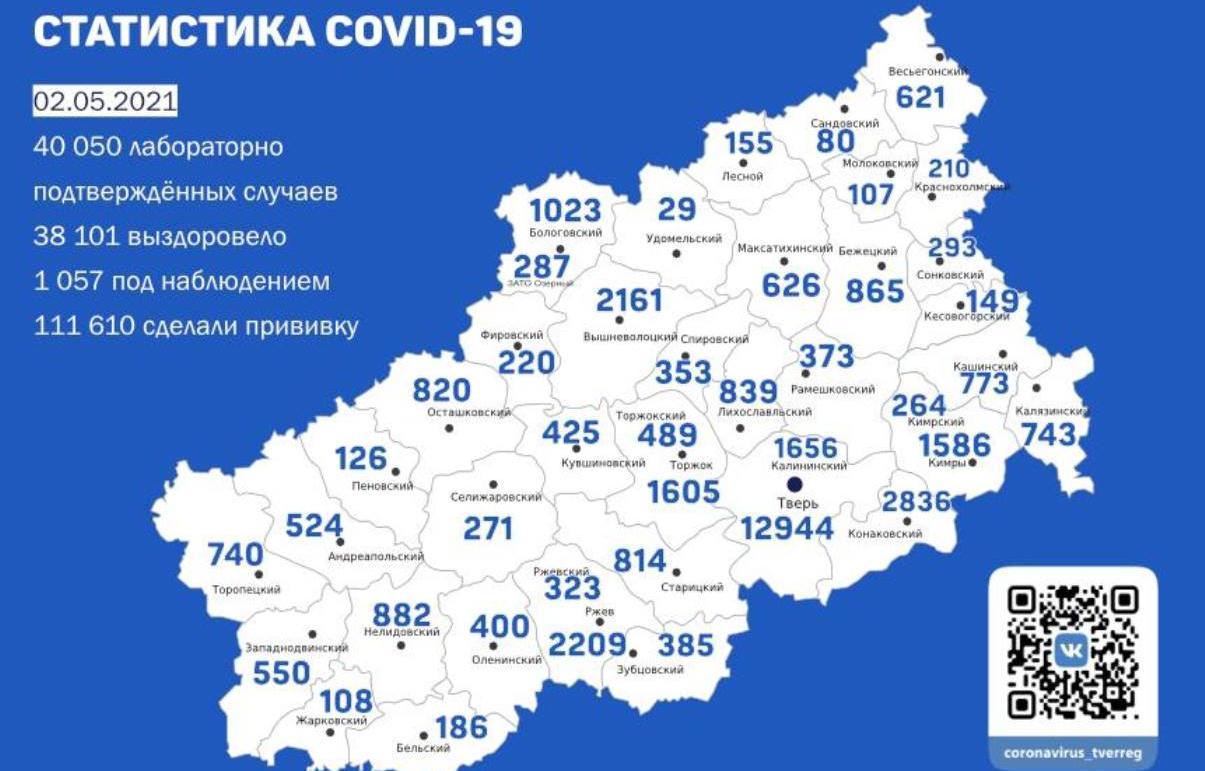 Карта коронавируса в Тверской области за 2 мая - новости Афанасий