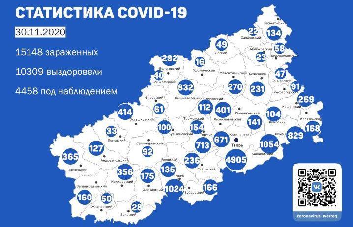 Карта коронавируса в Тверской области к 30 ноября - новости Афанасий