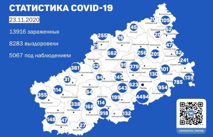 Карта коронавируса в Тверской области к 23 ноября - новости Афанасий