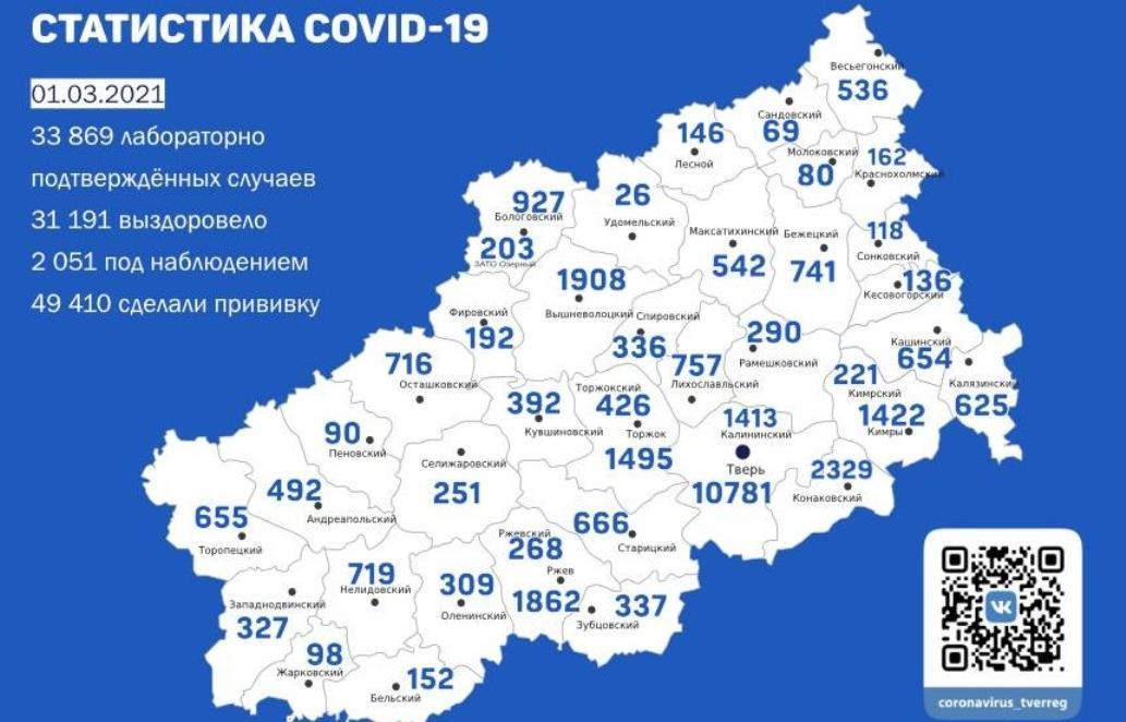 Карта коронавируса в Тверской области за 1 марта - новости Афанасий