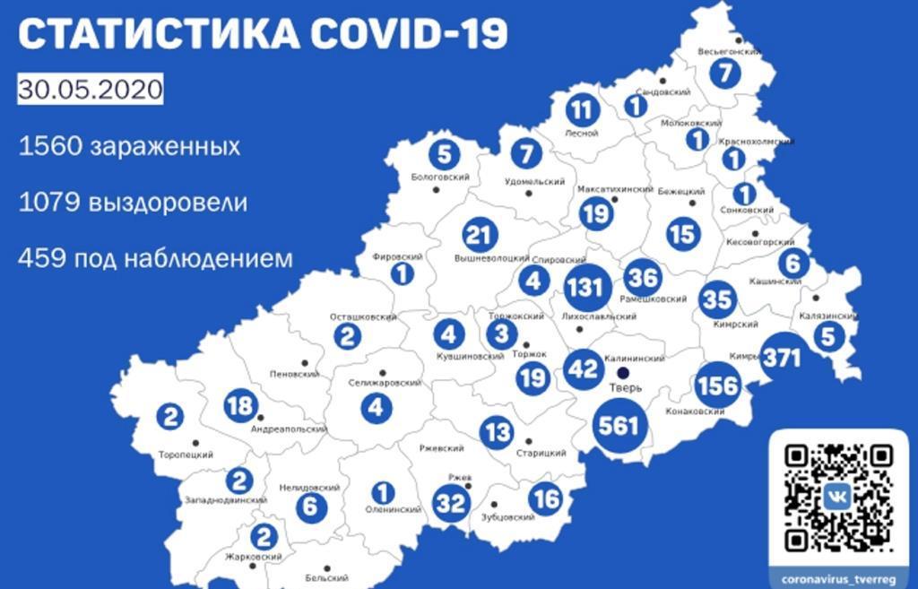 Карта коронавируса в Тверской области: статистика по районам на 30 мая - новости Афанасий