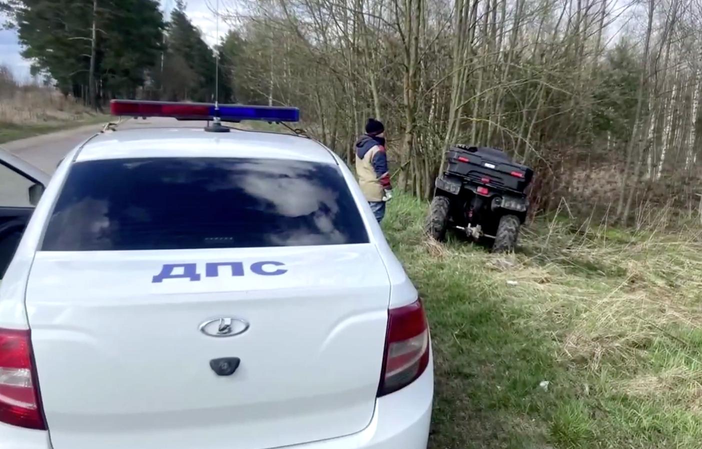Опубликовано видео погони ДПС за пьяным мужчиной с ребенком на квадроцикле под Тверью