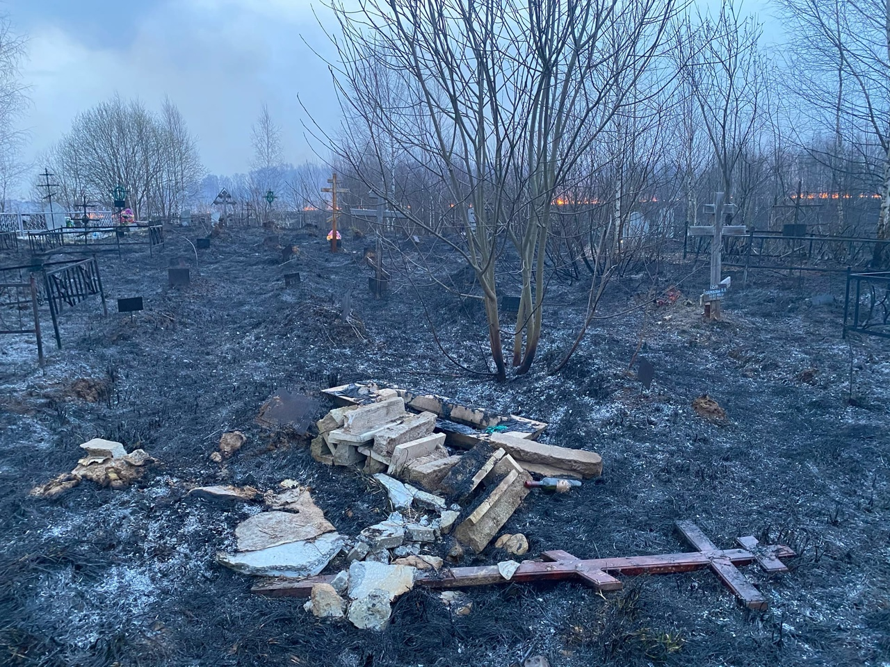 В Тверской области горела сухая трава на кладбище - новости Афанасий